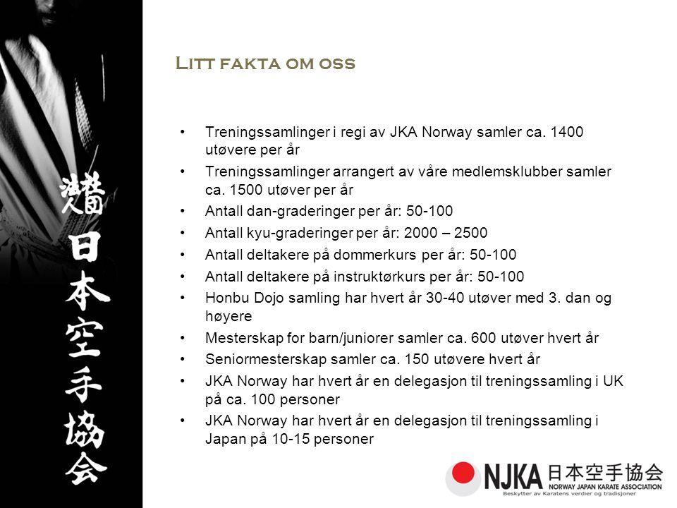 Litt fakta om oss •Treningssamlinger i regi av JKA Norway samler ca.