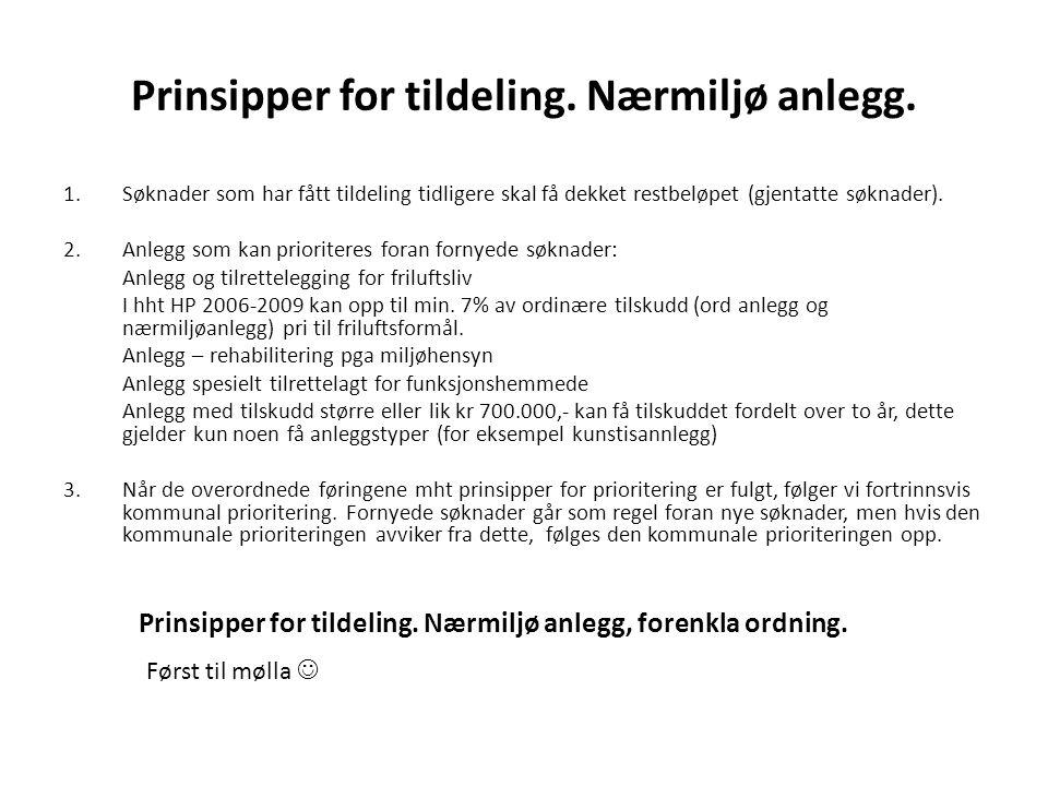 Prinsipper for tildeling. Nærmiljø anlegg. 1.Søknader som har fått tildeling tidligere skal få dekket restbeløpet (gjentatte søknader). 2.Anlegg som k