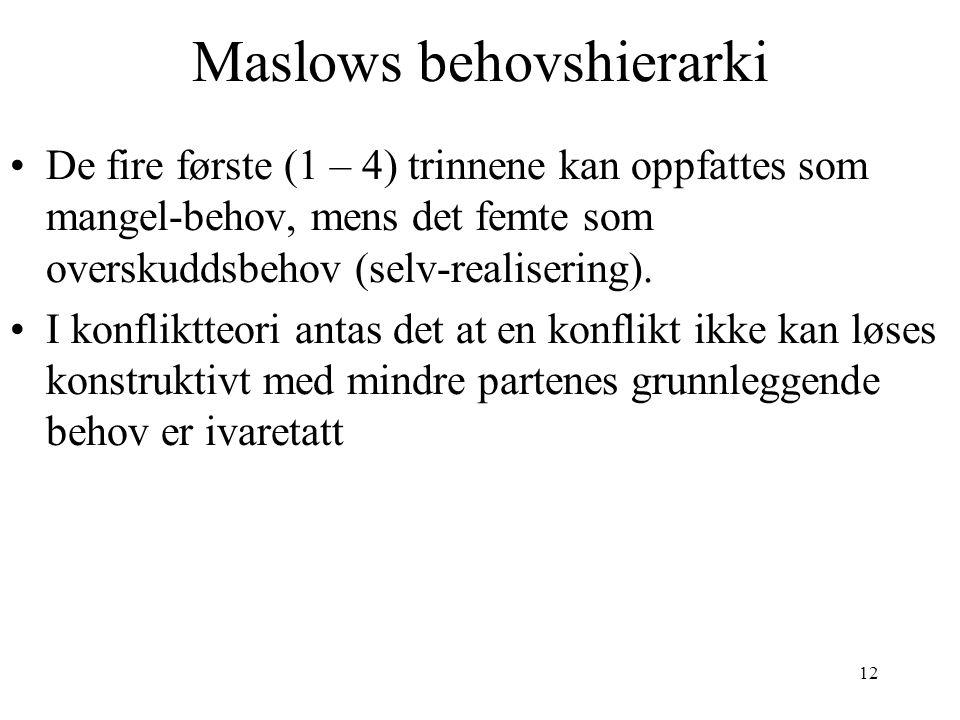 12 Maslows behovshierarki •De fire første (1 – 4) trinnene kan oppfattes som mangel-behov, mens det femte som overskuddsbehov (selv-realisering). •I k