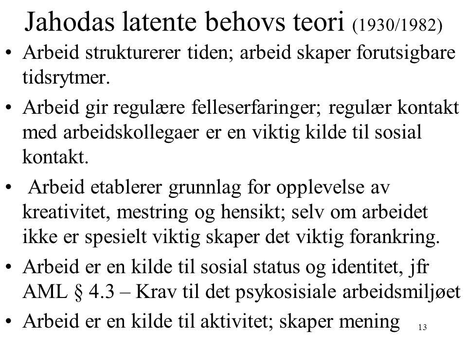 Jahodas latente behovs teori (1930/1982) •Arbeid strukturerer tiden; arbeid skaper forutsigbare tidsrytmer. •Arbeid gir regulære felleserfaringer; reg