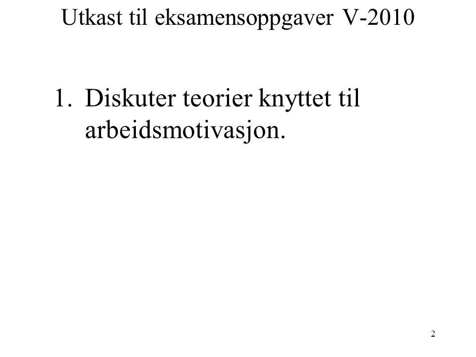 2 Utkast til eksamensoppgaver V-2010 1.Diskuter teorier knyttet til arbeidsmotivasjon.