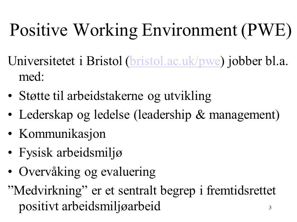 Positive Working Environment (PWE) Universitetet i Bristol (bristol.ac.uk/pwe) jobber bl.a. med:bristol.ac.uk/pwe •Støtte til arbeidstakerne og utvikl