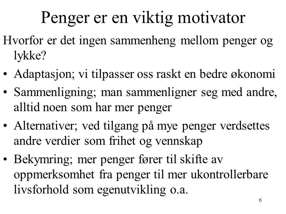 7 Sammenheng motivasjon - personlighet •Metastudie av Judge & Ilies (2002): 65 studier undersøkte sammenheng mellom personlighet og 3 mål på motivasjon, hhv målsetting, forventning og self-efficacy .