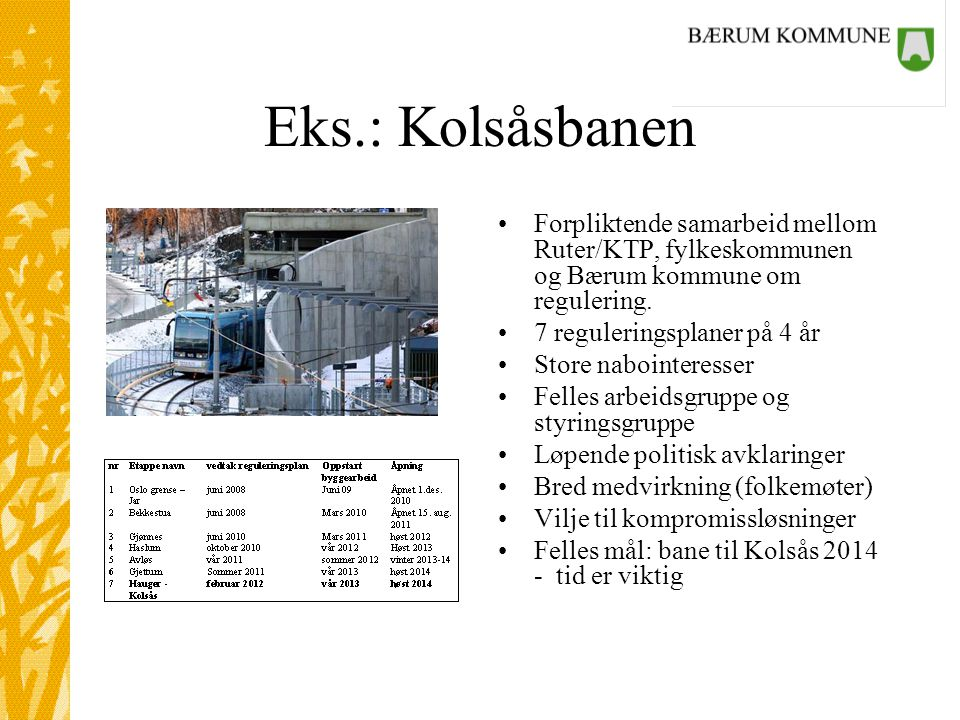 Eks.: Kolsåsbanen •Forpliktende samarbeid mellom Ruter/KTP, fylkeskommunen og Bærum kommune om regulering.