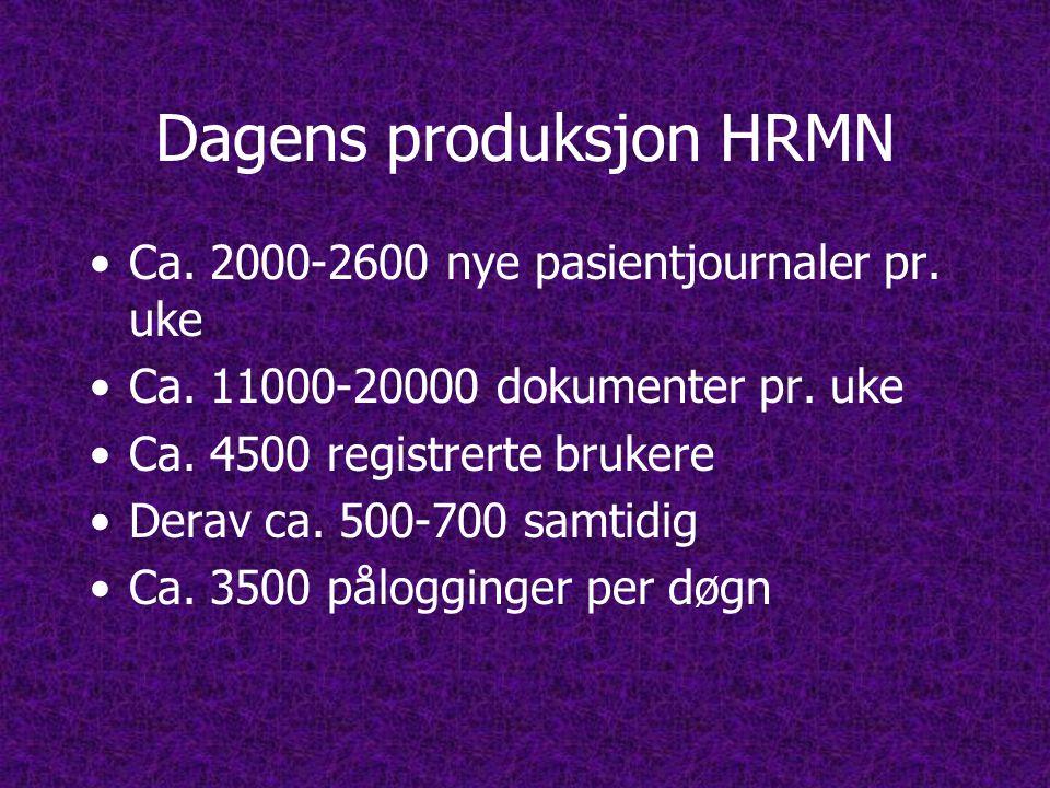 Dagens produksjon HRMN •Ca.2000-2600 nye pasientjournaler pr.