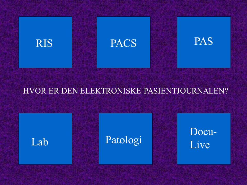 RISPACS PAS Docu- Live Lab Patologi HVOR ER DEN ELEKTRONISKE PASIENTJOURNALEN?