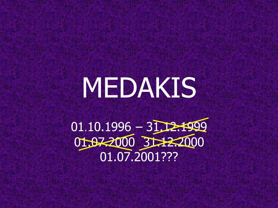 MEDAKIS 01. 10.1996 – 31.12.1999 01.07.2000 31.12.2000 01.07.2001???