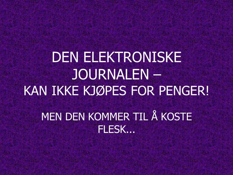 DEN ELEKTRONISKE JOURNALEN – KAN IKKE KJØPES FOR PENGER! MEN DEN KOMMER TIL Å KOSTE FLESK...