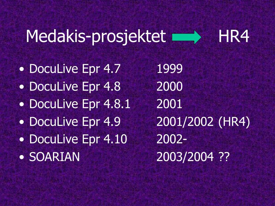 Medakis-prosjektetHR4 •DocuLive Epr 4.7 1999 •DocuLive Epr 4.8 2000 •DocuLive Epr 4.8.1 2001 •DocuLive Epr 4.9 2001/2002 (HR4) •DocuLive Epr 4.102002- •SOARIAN 2003/2004 ??