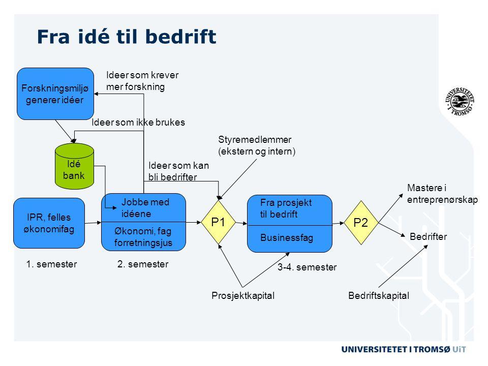 Fra idé til bedrift Idé bank Økonomi, fag forretningsjus Jobbe med idéene Ideer som krever mer forskning IPR, felles økonomifag P1 Ideer som kan bli b