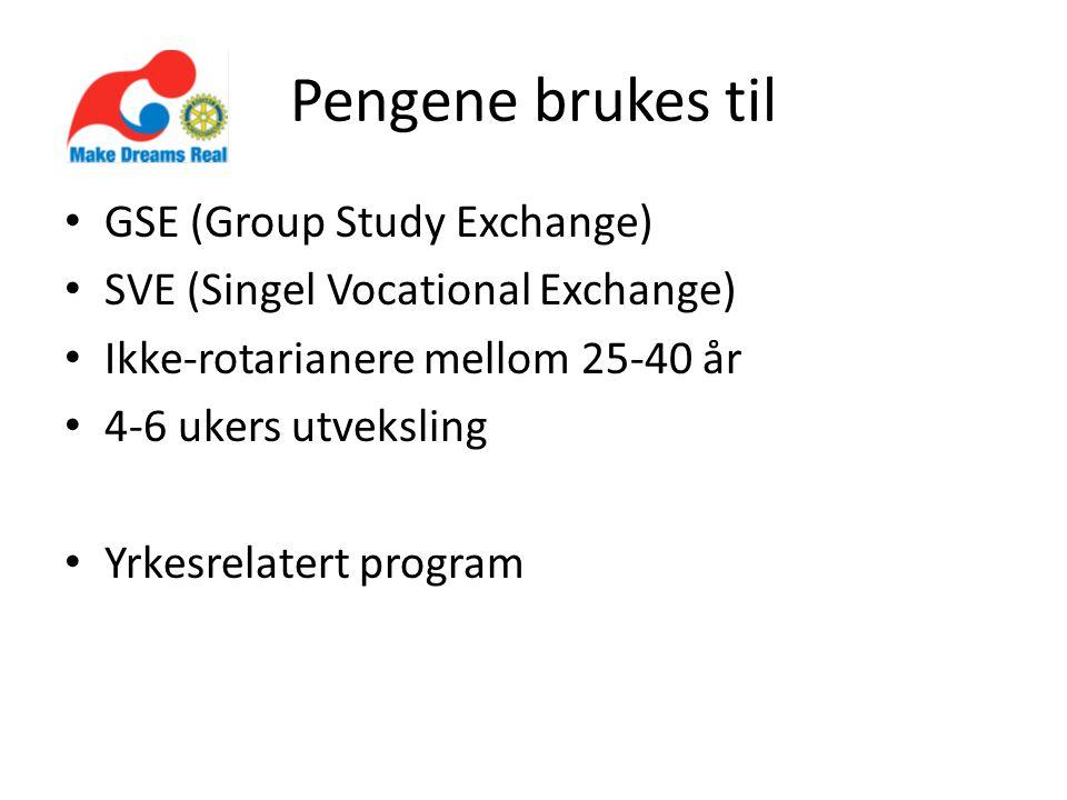 Pengene brukes til • GSE (Group Study Exchange) • SVE (Singel Vocational Exchange) • Ikke-rotarianere mellom 25-40 år • 4-6 ukers utveksling • Yrkesrelatert program