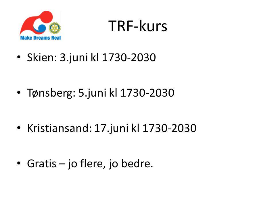 TRF-kurs • Skien: 3.juni kl 1730-2030 • Tønsberg: 5.juni kl 1730-2030 • Kristiansand: 17.juni kl 1730-2030 • Gratis – jo flere, jo bedre.