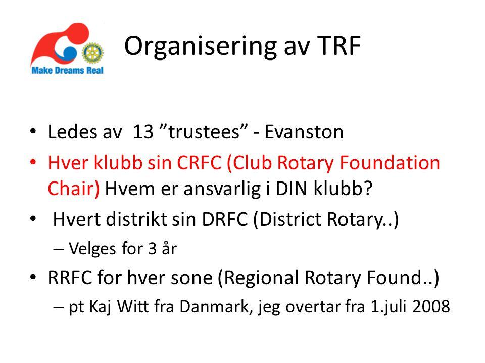 Organisering av TRF • Ledes av 13 trustees - Evanston • Hver klubb sin CRFC (Club Rotary Foundation Chair) Hvem er ansvarlig i DIN klubb.