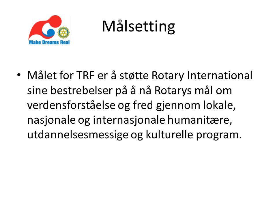 Målsetting • Målet for TRF er å støtte Rotary International sine bestrebelser på å nå Rotarys mål om verdensforståelse og fred gjennom lokale, nasjonale og internasjonale humanitære, utdannelsesmessige og kulturelle program.