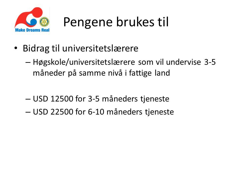 Pengene brukes til • Bidrag til universitetslærere – Høgskole/universitetslærere som vil undervise 3-5 måneder på samme nivå i fattige land – USD 12500 for 3-5 måneders tjeneste – USD 22500 for 6-10 måneders tjeneste