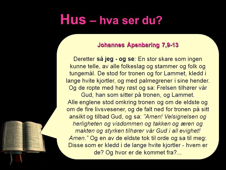 Hus – hva ser du? Johannes Åpenbaring 7,9-13 så jeg - og se Lammet Frelsen tilhører vår Gud, han som sitter på tronen, og Lammet Deretter så jeg - og