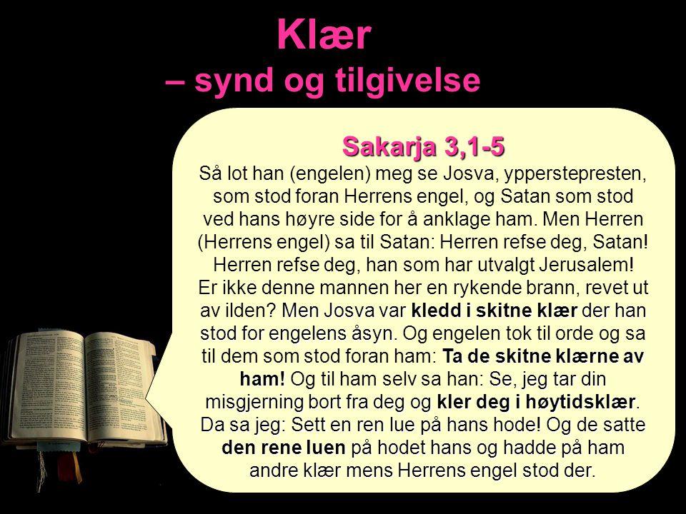 Klær – synd og tilgivelse Sakarja 3,1-5 Så lot han (engelen) meg se Josva, ypperstepresten, som stod foran Herrens engel, og Satan som stod ved hans h