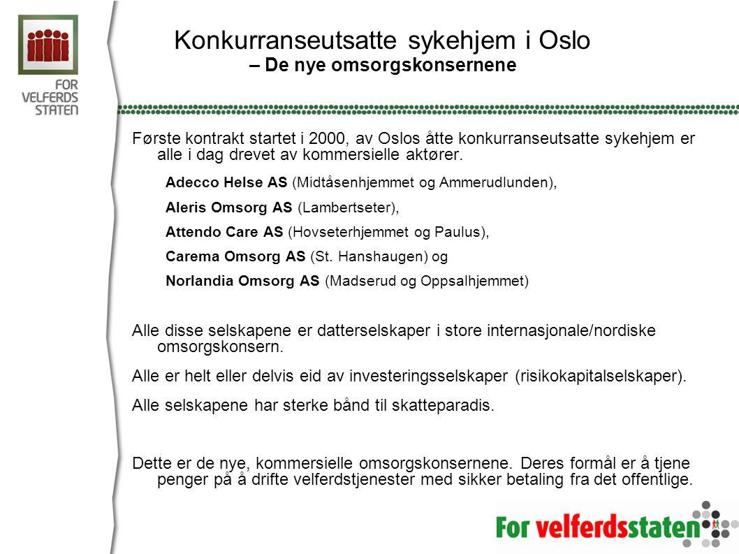 Konkurranseutsatte sykehjem i Oslo – De nye omsorgskonsernene Første kontrakt startet i 2000, av Oslos åtte konkurranseutsatte sykehjem er alle i dag
