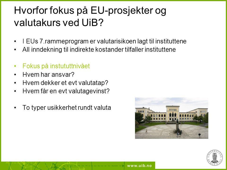 •I EUs 7.rammeprogram er valutarisikoen lagt til instituttene •All inndekning til indirekte kostander tilfaller instituttene •Fokus på instututtnivået