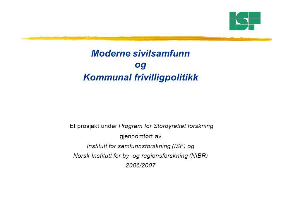 Moderne sivilsamfunn og Kommunal frivilligpolitikk Et prosjekt under Program for Storbyrettet forskning gjennomført av Institutt for samfunnsforskning (ISF) og Norsk Institutt for by- og regionsforskning (NIBR) 2006/2007