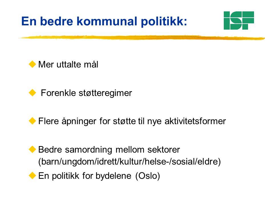 En bedre kommunal politikk: uMer uttalte mål u Forenkle støtteregimer uFlere åpninger for støtte til nye aktivitetsformer uBedre samordning mellom sektorer (barn/ungdom/idrett/kultur/helse-/sosial/eldre) uEn politikk for bydelene (Oslo)
