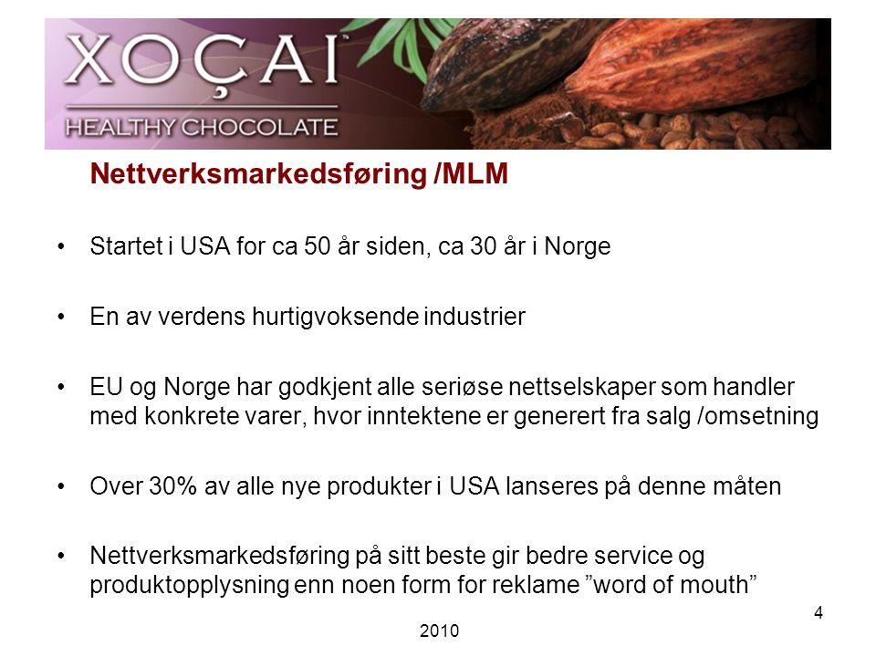 2010 4 Nettverksmarkedsføring /MLM •Startet i USA for ca 50 år siden, ca 30 år i Norge •En av verdens hurtigvoksende industrier •EU og Norge har godkjent alle seriøse nettselskaper som handler med konkrete varer, hvor inntektene er generert fra salg /omsetning •Over 30% av alle nye produkter i USA lanseres på denne måten •Nettverksmarkedsføring på sitt beste gir bedre service og produktopplysning enn noen form for reklame word of mouth