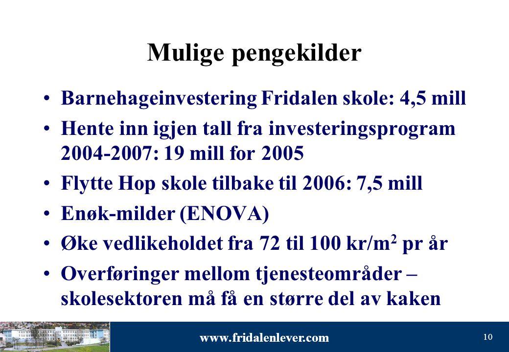 www.fridalenlever.com 10 Mulige pengekilder •Barnehageinvestering Fridalen skole: 4,5 mill •Hente inn igjen tall fra investeringsprogram 2004-2007: 19
