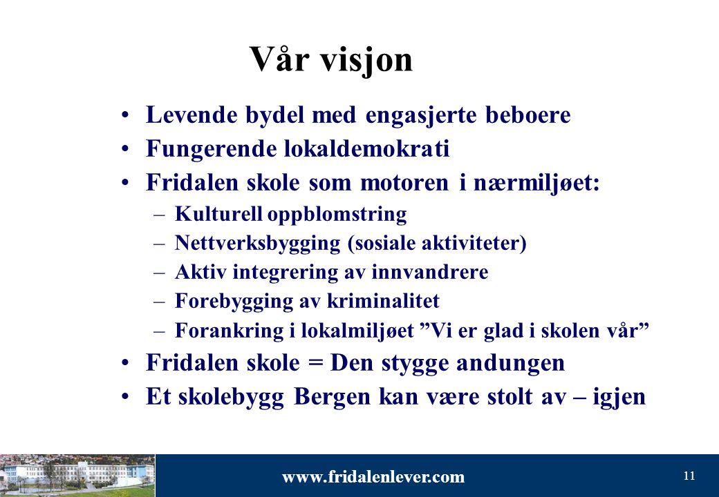 www.fridalenlever.com 11 Vår visjon •Levende bydel med engasjerte beboere •Fungerende lokaldemokrati •Fridalen skole som motoren i nærmiljøet: –Kultur