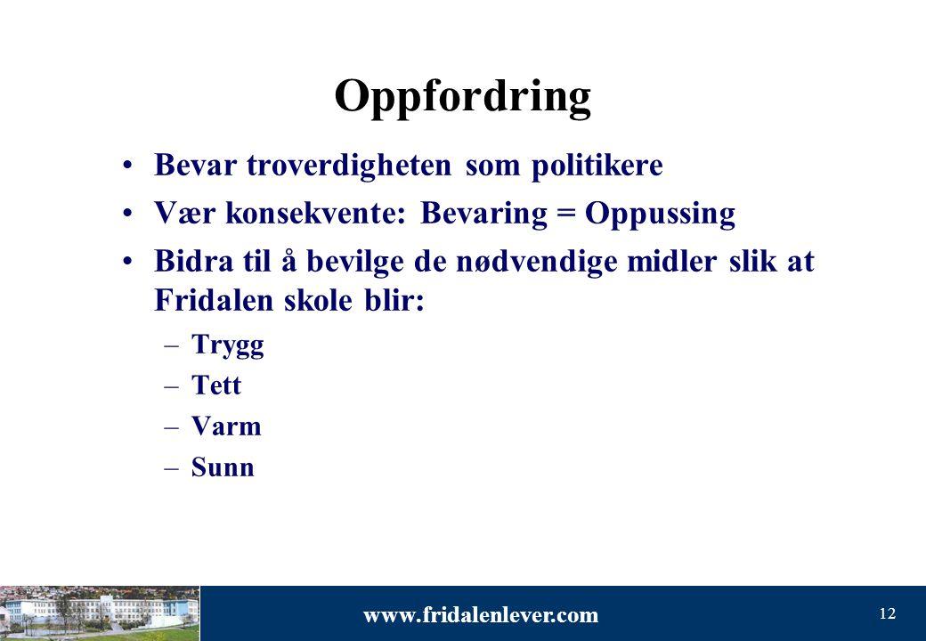 www.fridalenlever.com 12 Oppfordring •Bevar troverdigheten som politikere •Vær konsekvente: Bevaring = Oppussing •Bidra til å bevilge de nødvendige mi