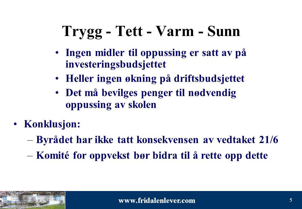 www.fridalenlever.com 5 Trygg - Tett - Varm - Sunn •Ingen midler til oppussing er satt av på investeringsbudsjettet •Heller ingen økning på driftsbuds