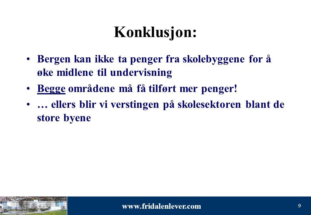 www.fridalenlever.com 9 Konklusjon: •Bergen kan ikke ta penger fra skolebyggene for å øke midlene til undervisning •Begge områdene må få tilført mer p