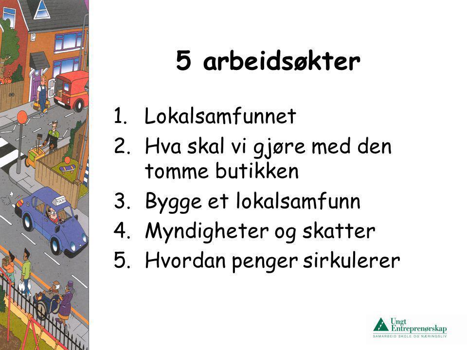5 arbeidsøkter 1.Lokalsamfunnet 2.Hva skal vi gjøre med den tomme butikken 3.Bygge et lokalsamfunn 4.Myndigheter og skatter 5.Hvordan penger sirkulere