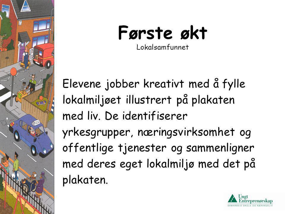 Første økt Lokalsamfunnet Elevene jobber kreativt med å fylle lokalmiljøet illustrert på plakaten med liv. De identifiserer yrkesgrupper, næringsvirks
