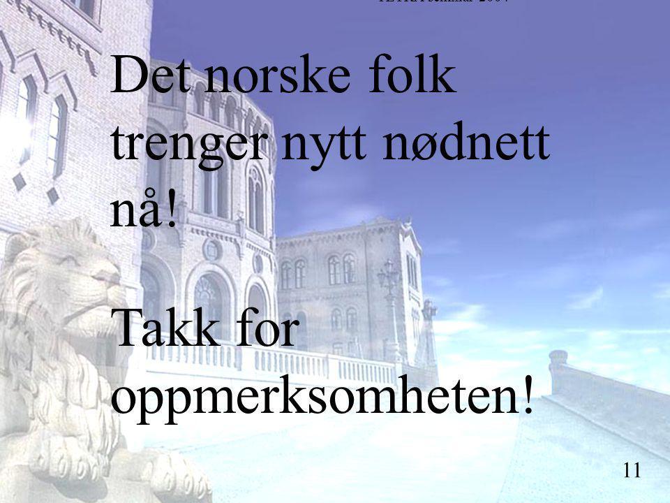 Stortingsrepresentant Einar Holstad, KrF 11 Det norske folk trenger nytt nødnett nå.