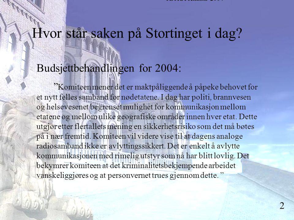 Stortingsrepresentant Einar Holstad, KrF 2 Hvor står saken på Stortinget i dag.