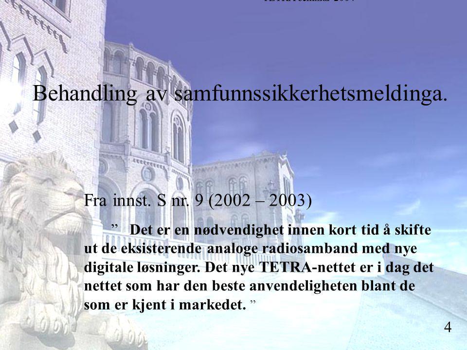 Stortingsrepresentant Einar Holstad, KrF 4 Behandling av samfunnssikkerhetsmeldinga.