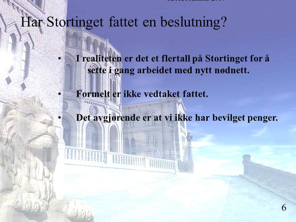 Stortingsrepresentant Einar Holstad, KrF 6 Har Stortinget fattet en beslutning.