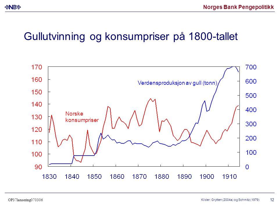 Norges Bank Pengepolitikk OP37lansering070306 13 Inflasjon i Norge fra 1667 25 års symmetrisk, glidende gjennomsnitt Kilde: Norges Bank