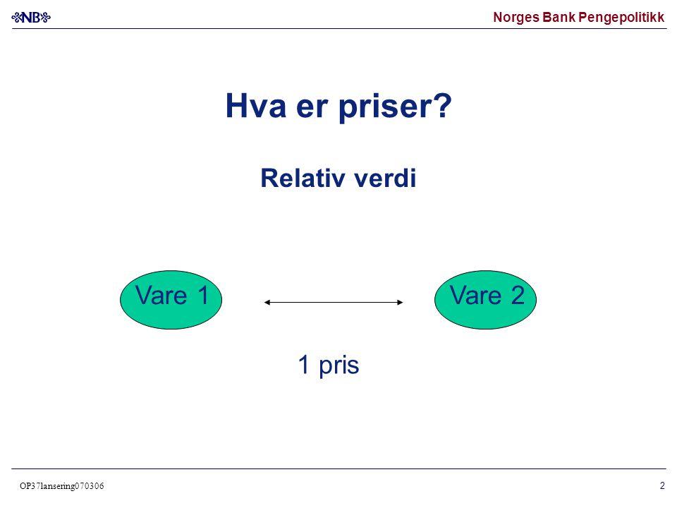 Norges Bank Pengepolitikk OP37lansering070306 3 Relativ verdi – 4 varer Vare 1 6 priser Vare 2 Vare 3Vare 4
