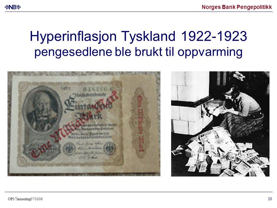 Norges Bank Pengepolitikk OP37lansering070306 27 Hyperinflasjon Tyskland 1922-1923 frimerker med valører opptil 50 mrd mark