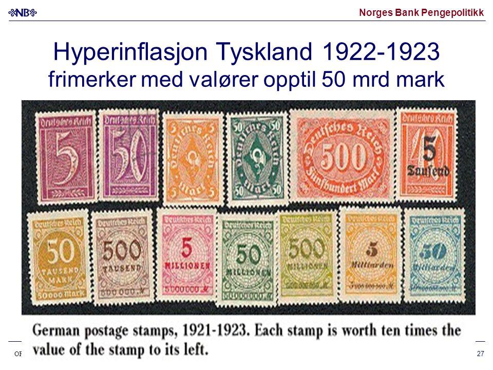 Norges Bank Pengepolitikk OP37lansering070306 28 Hyperinflasjon Jugoslavia 1993 •Sterkt tiltagende inflasjon •Stigende seddelvalører