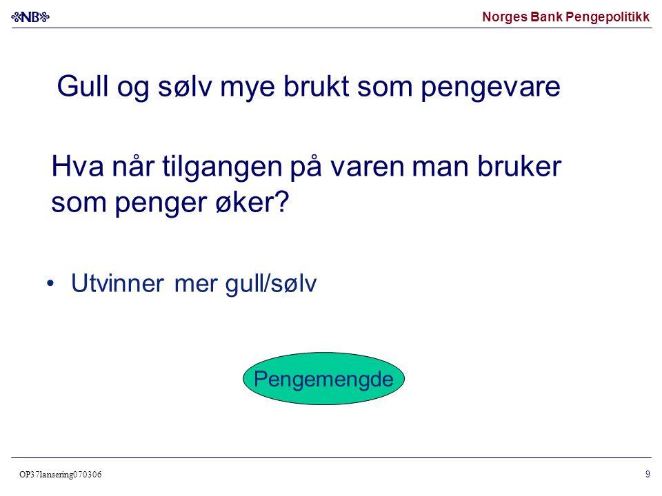 Norges Bank Pengepolitikk OP37lansering070306 10 • Mer penger å fordele på de andre varene • Pengeverdien av hver vare øker • De relative prisforholdene mellom varene uendret Inflasjon Økt pengemengde