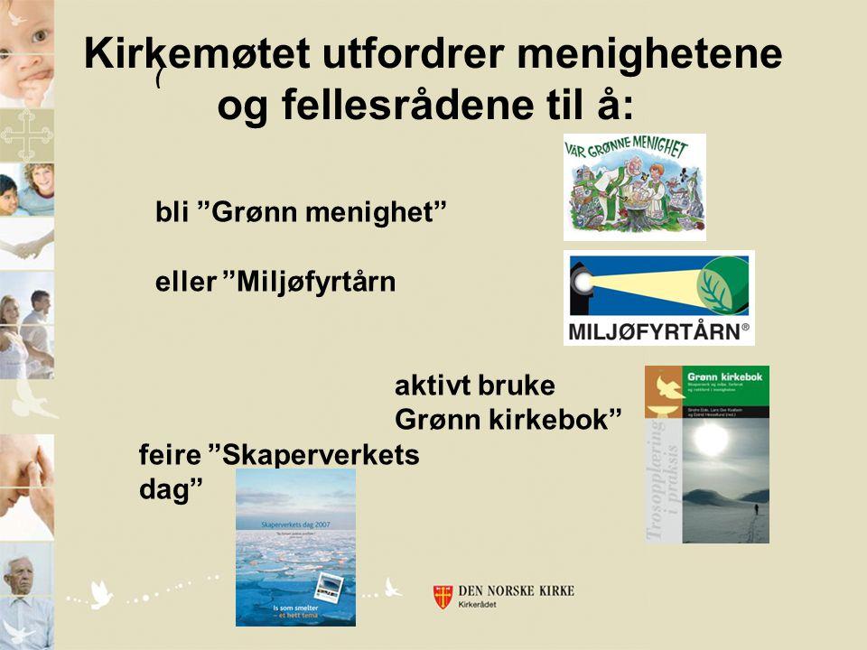 """bli """"Grønn menighet"""" eller """"Miljøfyrtårn aktivt bruke Grønn kirkebok"""" feire """"Skaperverkets dag"""" ( Kirkemøtet utfordrer menighetene og fellesrådene til"""