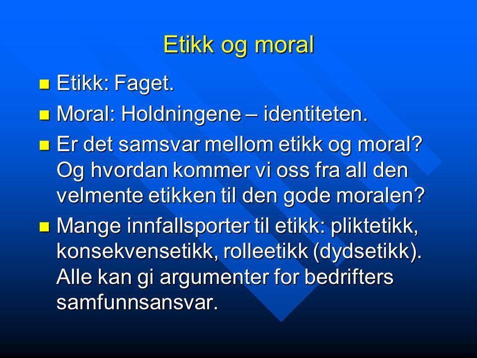 Etikk og moral  Etikk: Faget.  Moral: Holdningene – identiteten.  Er det samsvar mellom etikk og moral? Og hvordan kommer vi oss fra all den velmen
