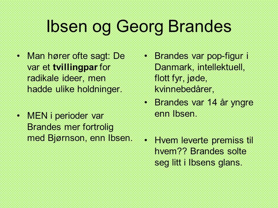 Ibsen og Georg Brandes •Man hører ofte sagt: De var et tvillingpar for radikale ideer, men hadde ulike holdninger. •MEN i perioder var Brandes mer for