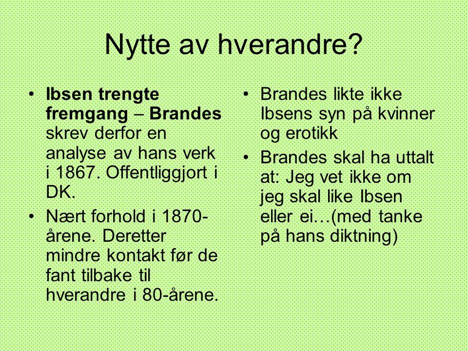 Nytte av hverandre? •Ibsen trengte fremgang – Brandes skrev derfor en analyse av hans verk i 1867. Offentliggjort i DK. •Nært forhold i 1870- årene. D