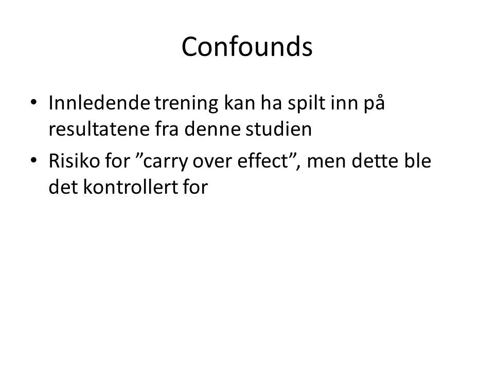 Confounds • Innledende trening kan ha spilt inn på resultatene fra denne studien • Risiko for carry over effect , men dette ble det kontrollert for