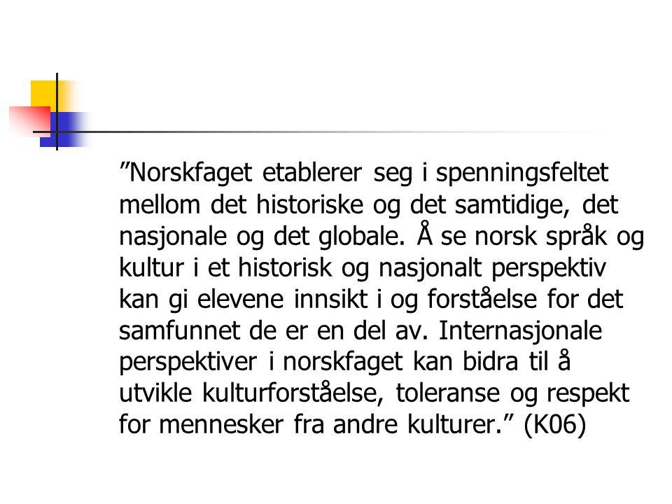 """""""Norskfaget etablerer seg i spenningsfeltet mellom det historiske og det samtidige, det nasjonale og det globale. Å se norsk språk og kultur i et hist"""