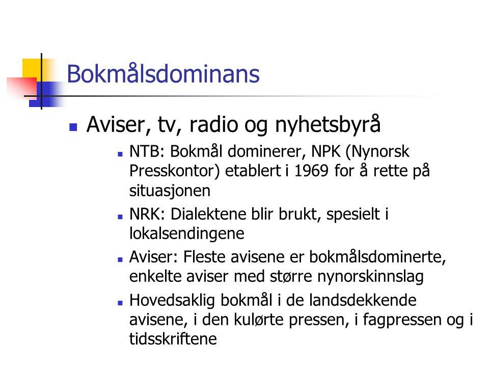 Bokmålsdominans  Aviser, tv, radio og nyhetsbyrå  NTB: Bokmål dominerer, NPK (Nynorsk Presskontor) etablert i 1969 for å rette på situasjonen  NRK: