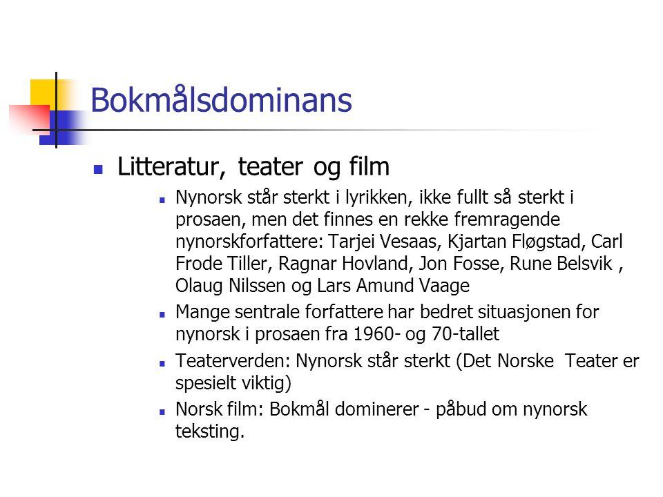 Bokmålsdominans Organisasjonslivet og de politiske partiene  Bokmål dominerer, særlig i de landsdekkende organisasjonene  Nynorsk innen jordbruks- og fiskesektoren, avholdsbevegelsen, lekmannsbevegelsen og lærerorganisasjonene  De politiske partiene bruker nynorsk i det nynorske kjerneområdet, ellers bokmål